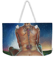 Weekender Tote Bag featuring the painting Indigo Blue by Baroquen Krafts