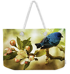 Indigo Bunting And Apple Blossoms Weekender Tote Bag by TnBackroadsPhotos