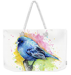Indigo Bunting Blue Bird Watercolor Weekender Tote Bag by Olga Shvartsur