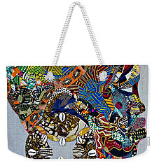 Weekender Tote Bag featuring the tapestry - textile Indigo Crossing by Apanaki Temitayo M