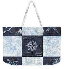 Indigo Nautical Collage Weekender Tote Bag by Debbie DeWitt