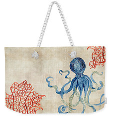 Indigo Ocean - Octopus Floating Amid Red Fan Coral Weekender Tote Bag