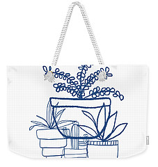 Weekender Tote Bag featuring the mixed media Indigo Potted Succulents- Art By Linda Woods by Linda Woods