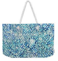 Weekender Tote Bag featuring the painting Indigo Trails Ink #14 by Sarajane Helm
