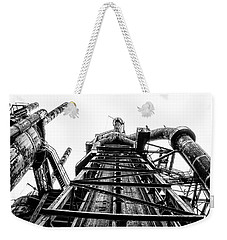 Industrial Age - Bethlehem Steel In Black And White Weekender Tote Bag by Bill Cannon