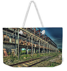 Weekender Tote Bag featuring the photograph Industrial Archeology Railway Silos - Archeologia Industriale Silos Ferrovia by Enrico Pelos