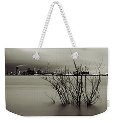 Industry On The Mississippi River, In Monochrome Weekender Tote Bag