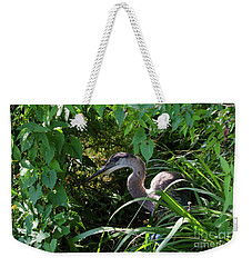 Injure Blue Heron Weekender Tote Bag by Donna Brown