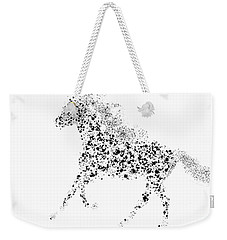 Weekender Tote Bag featuring the drawing Ink Splattered Stallion by Nick Gustafson