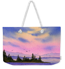 Weekender Tote Bag featuring the painting Inland Sea Sunset by James Williamson