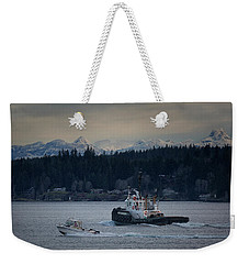 Weekender Tote Bag featuring the photograph Inlet Crusader by Randy Hall