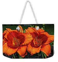 Weekender Tote Bag featuring the photograph Innocent Fire by Judy Vincent
