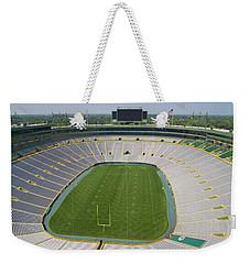 Weekender Tote Bag featuring the photograph Inside Lambeau Field by Joel Witmeyer