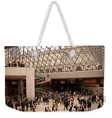Weekender Tote Bag featuring the photograph Inside Louvre Museum Pyramid by Mark Czerniec
