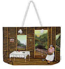 Inside Wooden Home Weekender Tote Bag