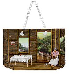 Inside Wooden Home Weekender Tote Bag