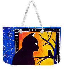 Insomnia - Cat And Owl Art By Dora Hathazi Mendes Weekender Tote Bag