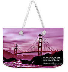 Inspirational - Nightfall At The Golden Gate Weekender Tote Bag