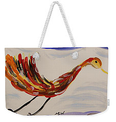 Weekender Tote Bag featuring the painting Inspired By Calder's Only Only Bird by Mary Carol Williams