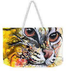 Weekender Tote Bag featuring the painting Intensity by Sherry Shipley
