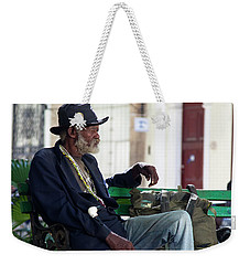 Weekender Tote Bag featuring the photograph Interesting Cuban Gentleman In A Park On Obrapia by Charles Harden