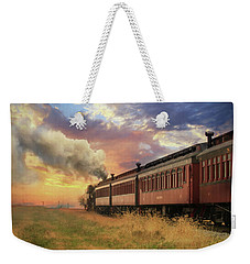 Weekender Tote Bag featuring the mixed media Into The Sunset by Lori Deiter