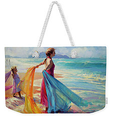 Weekender Tote Bag featuring the painting Into The Surf by Steve Henderson