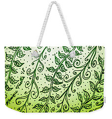 Weekender Tote Bag featuring the drawing Into The Thick Of It, Green by Monique Faella