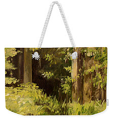 Weekender Tote Bag featuring the painting Into The Woods by Laurie Rohner