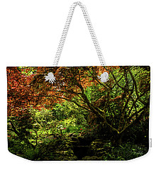 Weekender Tote Bag featuring the painting Into The Woods - Spring Art by Jordan Blackstone