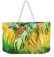 Weekender Tote Bag featuring the mixed media Intoxicating Ylang Ylang by Carol Cavalaris