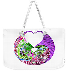 Weekender Tote Bag featuring the digital art Invert Hearts by Adria Trail