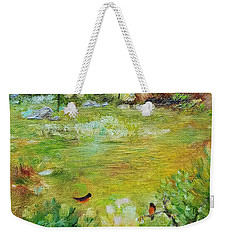 Weekender Tote Bag featuring the painting Invincible Spring by Judith Rhue