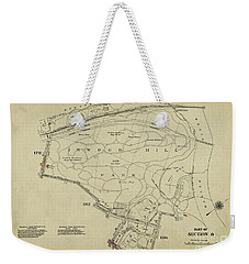 Weekender Tote Bag featuring the photograph Inwood Hill Park 1950's Map by Cole Thompson