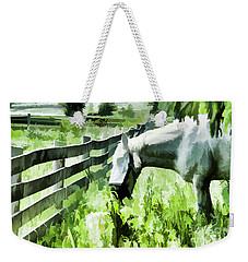 Weekender Tote Bag featuring the digital art Iowa Farm Pasture And White Horse by Wilma Birdwell