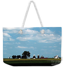 Weekender Tote Bag featuring the photograph Iowa Farm  by Yumi Johnson
