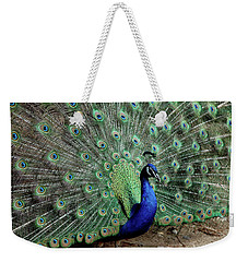 Iridescent Blue-green Peacock Weekender Tote Bag