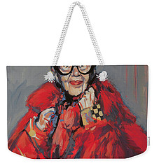 Weekender Tote Bag featuring the painting Iris Apfel Style Icon by Nop Briex