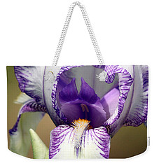 Weekender Tote Bag featuring the photograph Iris Close-up by Sheila Brown