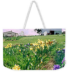 Weekender Tote Bag featuring the photograph Iris Farm by Steve Karol
