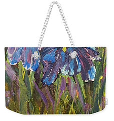 Weekender Tote Bag featuring the painting Iris Floral Garden by Claire Bull
