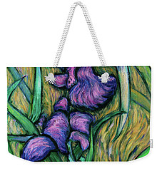 Weekender Tote Bag featuring the painting Iris For Vincent - Contemporary Fauvist Post-impressionist Oil Painting Original Art On Canvas by Xueling Zou