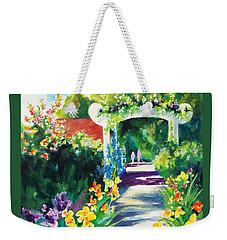 Weekender Tote Bag featuring the painting Iris Garden Walkway   by Kathy Braud