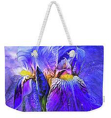 Weekender Tote Bag featuring the mixed media Iris - Goddess Of Starlight by Carol Cavalaris