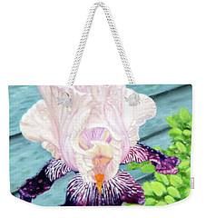 Iris In The Spring Rain Weekender Tote Bag