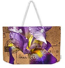 Iris On Vintage 1912 Postcard Weekender Tote Bag