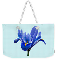 Iris Reticulata Blue Background Weekender Tote Bag