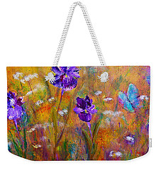 Weekender Tote Bag featuring the painting Iris Wildflowers And Butterfly by Claire Bull