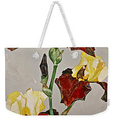 Weekender Tote Bag featuring the painting Irises-posthumously Presented Paintings Of Sachi Spohn  by Cliff Spohn