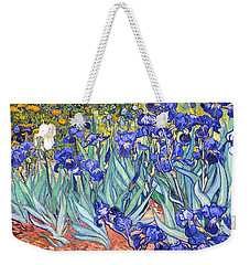 Weekender Tote Bag featuring the painting Irises by Van Gogh